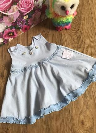 Нежное хлопковое летнее платье/сарафан+носочки