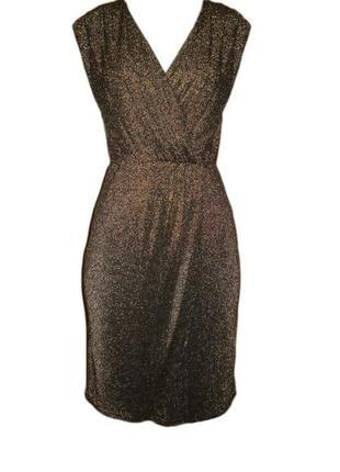 Золотистое платье нарядное с люрексом вырез на запах размер 12 наш 46