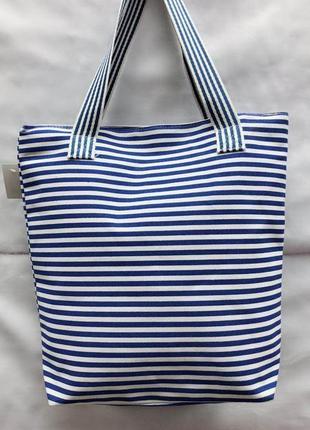 Сумка пляжная, шоппер в синюю полоску