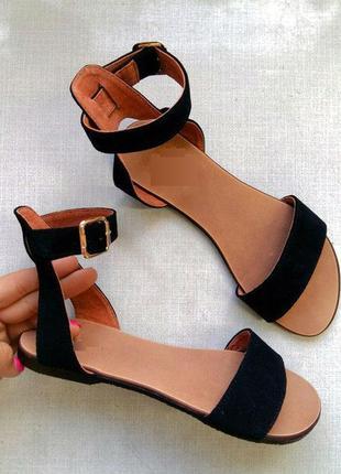 faccb4cd5 Замшевые, кожаные черные босоножки - сандалии низкий ход, размеры 34 ...