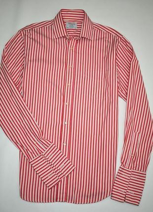 Мужская хлопковая рубашка в полоску lewin длинный рукав 100% хлопок размер л