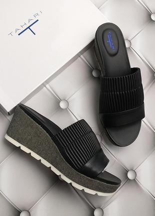 Tahari оригинал черные кожаные сабо на танкетке и платформе бренд из сша
