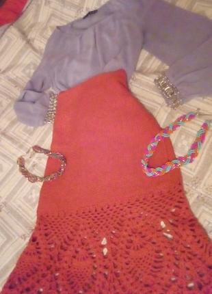 Шикарная юбка миди вязаная ручной работы