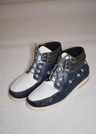 Мужские кожаные высокие топсайдеры ботинки, размер 44