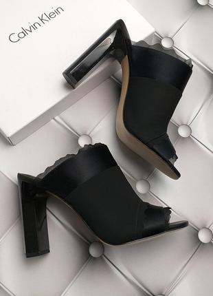 Calvin klein оригинал изящные черные босоножки сабо на широком каблуке бренд из сша