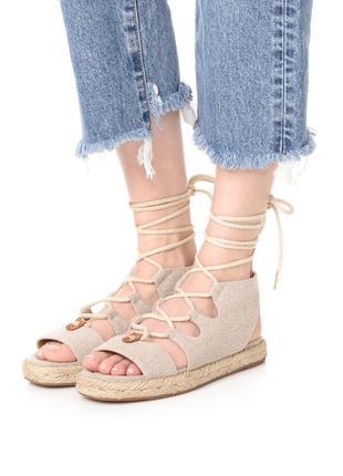 Michael kors оригинал бежевые сандалии на платформе с шнуровкой бренд из сша