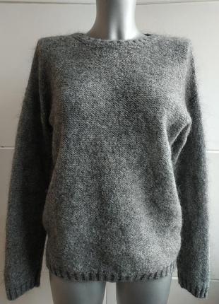 Стильный шерстяной свитер benetton базового серого цвета