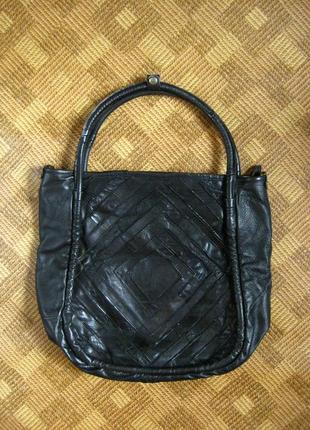 Большая кожаная сумка - шоппер - торба - 35х40см