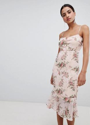 Нежное платье, сарафан, персиковое, цветы