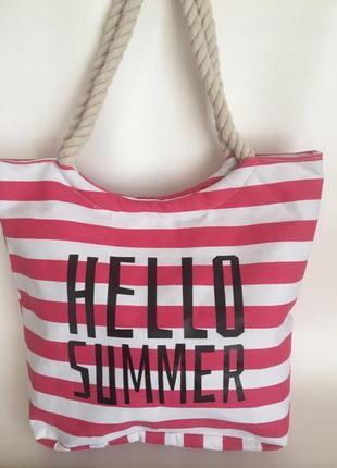 Большая пляжная сумка, шоппер в красную полоску