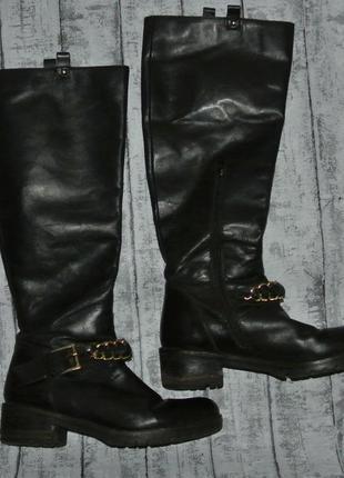 Сапоги ботфорты кожаные 38р. демисезонные