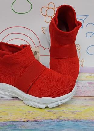 Детские кроссовки слипоны очень легкие дышащие на резинке красные 26-37р