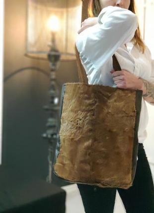 Авторская сумка-шоппер из меха косули и кожи.