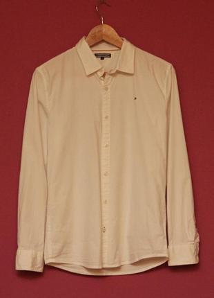 Tommy hilfiger рр s приталеная рубашка из хлопка и эластина