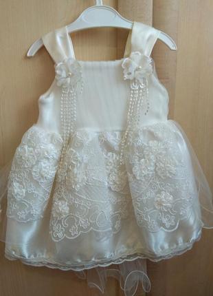 Нарядное платье на крещение или праздник с пинетками
