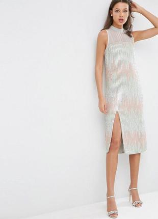 ‼️1+1=3‼️ эксклюзивное вечернее коктейльное выпускное платье миди из пайеток