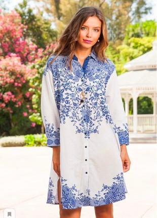 Белая с синим пляжная туника рубашка с вышивкой индиано код 1276