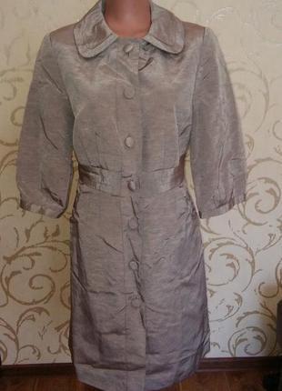Пальто плащ серебро укороченый рукав лен ткань