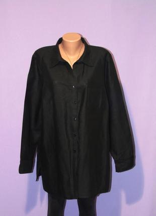 Черная классическая рубашка 60% лен