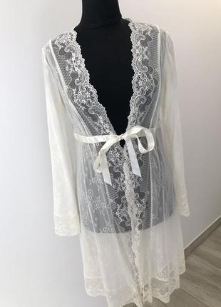 Пиньюар . кружевной халат . свадебный пиньюар