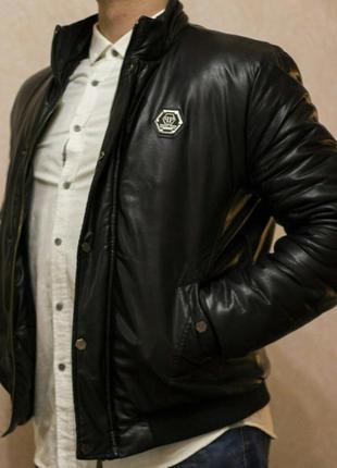 Кожаная мужская куртка philipp plein