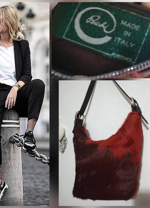 Фирменная, кожаная, винтажнная сумка ведро, боченок, 100% кожа,