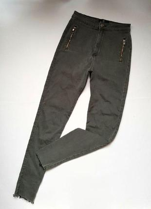 Трендовые джинсы с высокой посадкой и необработанным краем,джинсы цвета хаки серые