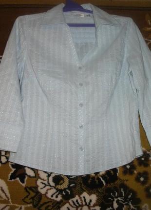 Голубая блузка с блестящей полоской