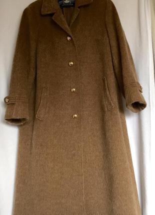 Шикарное пальто трапеция из шерсти ламы, винтаж