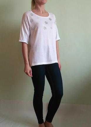 Красивая футболка со стразами, трикотажная блуза