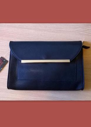Черный аккуратный клатч конверт раоlo truzzi, италия, оригинал