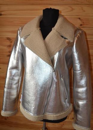Роскошная курточка на меху verо moda от asos! металлик серебро! косуха / байкер3