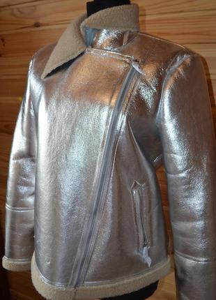 Роскошная курточка на меху verо moda от asos! металлик серебро! косуха / байкер4