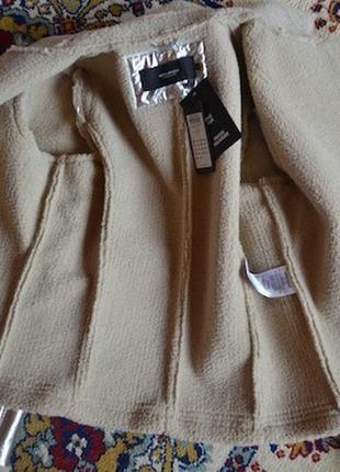 Роскошная курточка на меху verо moda от asos! металлик серебро! косуха / байкер5
