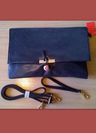 Темно-серый аккуратный клатч конверт сумка кроссбоди раоlo truzzi, италия, оригинал
