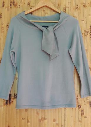 Шерстяной с шелком свитер мятно серый блуза джемпер пуловер кофта англия