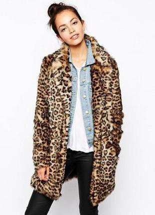 Невероятно мягкая шуба в трендовый принт175840 new look размер uk8/36 (s) леопард