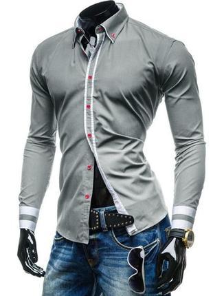 Рубашка мужская (серая ) код 77