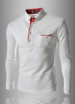 Рубашка в горошек m- xxl белая код 114