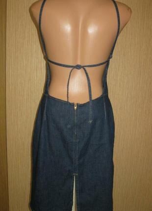 Очень стильный джинсовый сарафан с открытой спиной