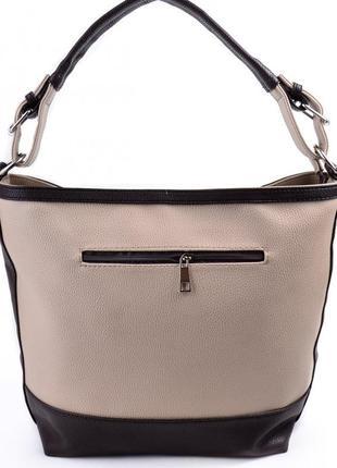 7819c78238d3 ... Бежевая сумка-мешок шоппер на плечо с коричневыми вставками4 фото