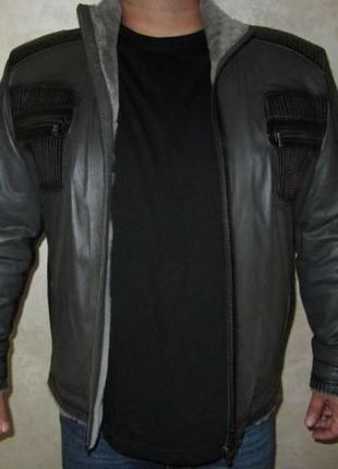 Мужская короткая дубленка, куртка, натуральная цигейка