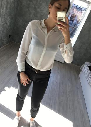 Шифоновая/белоснежная/блуза/блузка/со страхами/новая/легкая