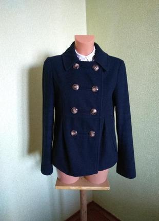 Синее полупальто/короткое пальто topshop/uk 10/шерсть