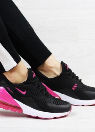 Женские кроссовки черные с малиновым nike air max 270