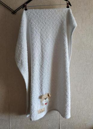 Белое детское одеяло,плед с мишкой 76*102