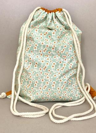 Хлопковый рюкзак, эко сумка, пляжная, пляжный