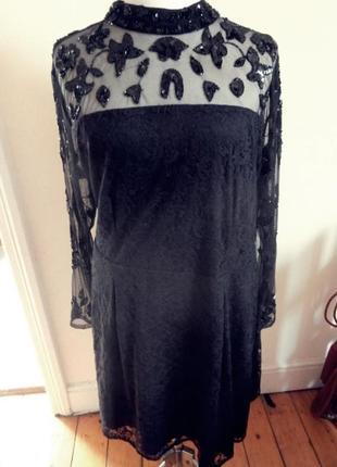 Frock&frill черное платье миди, нарядное, кружевное, 4xl, 54-56, 64