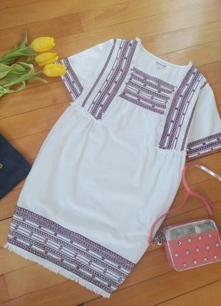 Стильное  платье-вышиванка  с бахромой whistles
