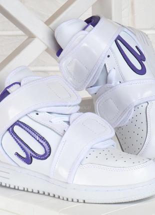 Кроссовки кожаные ato matsumoto женские сникерсы белые лак на липучках